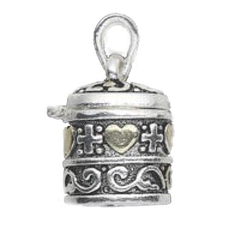 "CB-Round Prayer Box Charm - This Round Prayer Box Charm is antique silver- and gold-finished ""pewter"" (zinc-based alloy). It measures 18x21mm cylinder prayer box with crosses, hearts and swirlys and a magnetic closure. Sold individually."